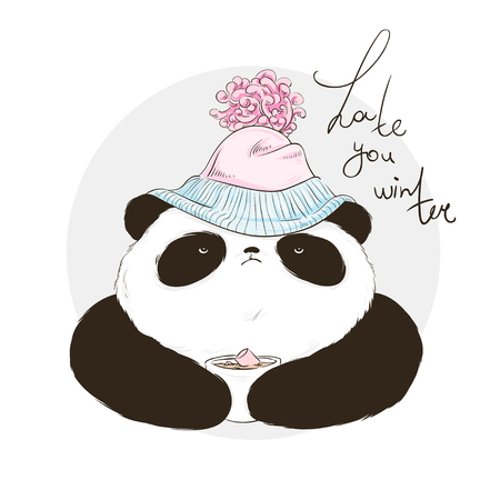 Panda in hat with bubo with lettering hate winter. Vector illustration for greeting card, poster, or print on clothes. Christmas and New Year. Illusztráció