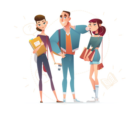 Detailed flat cartoon character students in casual fashion, Lifestyle, team of young people in street clothes style. Vector education illustration.