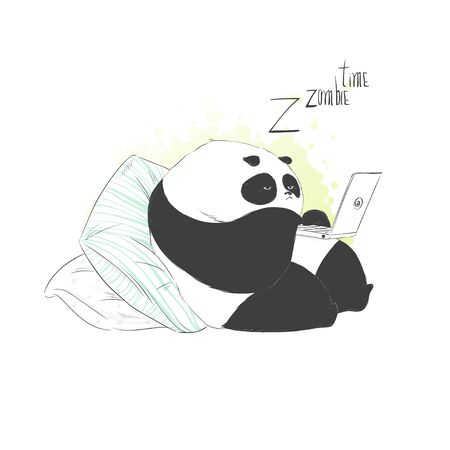 Cute baby little boring cute panda. Vector hand drawn illustration.  イラスト・ベクター素材