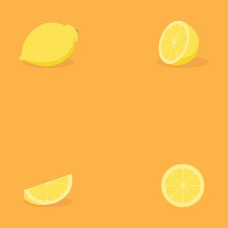 set lemon fruit from all side Vettoriali