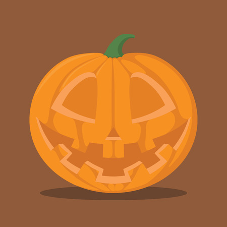 orange pumpkin character with smile with many teeth emotion for halloween, pumpkin illustration, flat design, jack o lantern