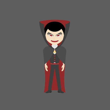 vampire with red eyes and wearing black robes for a halloween party, vampire illustration, flat design 矢量图像