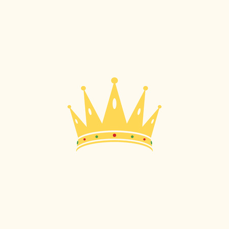 yellow crown logo with diamond surrounding for elegant business, crown illustration, flat design