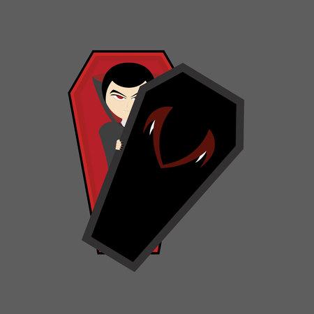 le vampire est dans un cercueil aux yeux rouges et vêtu d'une robe noire dont les mains tiennent le couvercle du cercueil, illustration de vampire, design plat