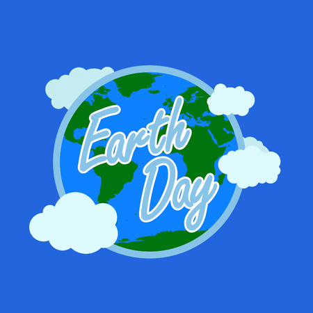 blue earth day typography with white outline at the background have earth with atmosphere and cloud. happy earth day, 22 april. earth day logo, earth illustration. world map vector Vettoriali