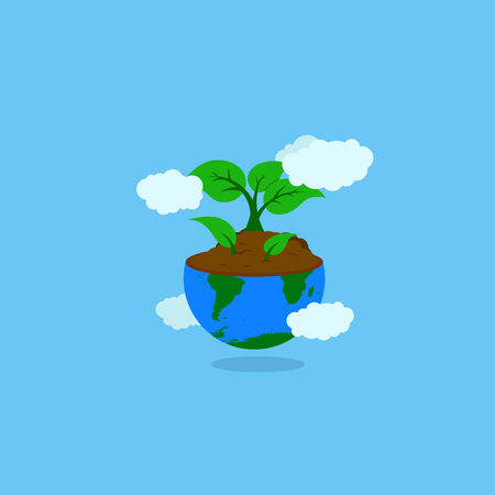 earth illustration with soil and growing plant or tree and leaf