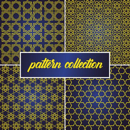 conjunto o colección de fondo transparente y abstracto en estilo árabe, se puede utilizar para el tema de ramadan kareem y eid mubarak. patrón dorado con degradado azul Ilustración de vector