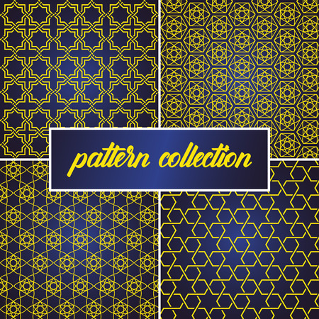 set or collection of seamless and abstract pattern background in arabic style, can use for ramadan kareem and eid mubarak topic. gold pattern with blue gradient Vector Illustratie