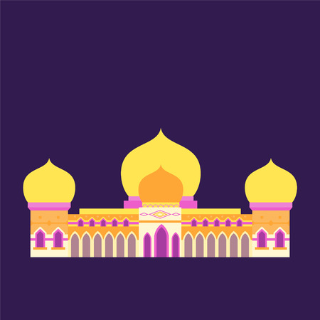 vector illustration islamic mosque with isolated flat style and pastel color, can use for ramadan kareem and eid mubarak topic Ilustração