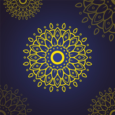 islamic flower mandala with yellow color and gradient background. can use for coloring book page. mandala with style Islam, Arabic, Indian, moroccan,spain, turkish, pakistan, mystic, ottoman motifs, Vintage decorative elements, Oriental pattern. can use for ramadan kareem and eid mubarak or islamic topic background