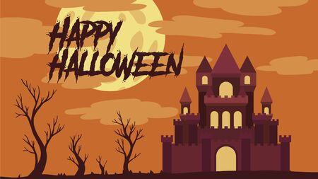 castle landscape vector illustration with trees, clouds and moon for halloween banner also can use for media social feed or story