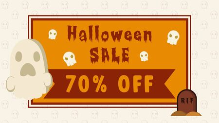 halloween sale 70% off banner with vector illustration ghost, skull and grave can use for media social feed or story