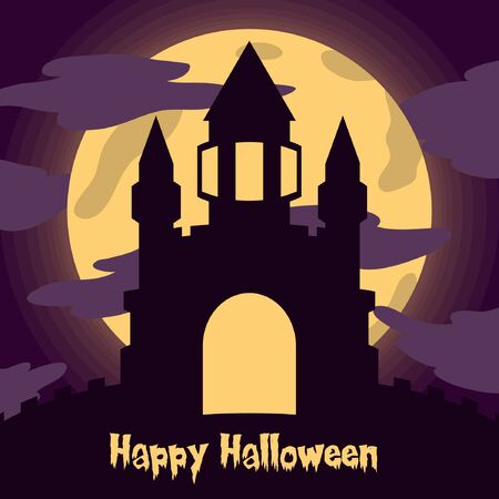 castle silhouette vector illustration with moon light for halloween banner also can use for media social feed or story