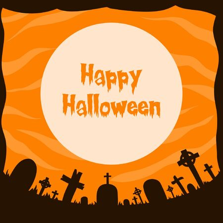 creepy grave silhouette vector illustration with moon light for halloween banner also can use for media social feed or story Çizim