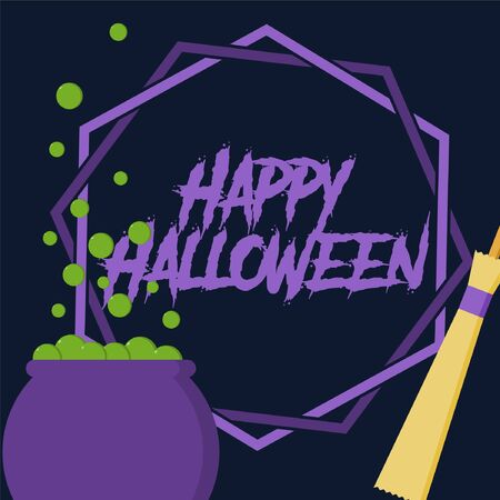 pentagram, cauldron and witch broom vector illustration for halloween banner also can use for media social feed or story Çizim