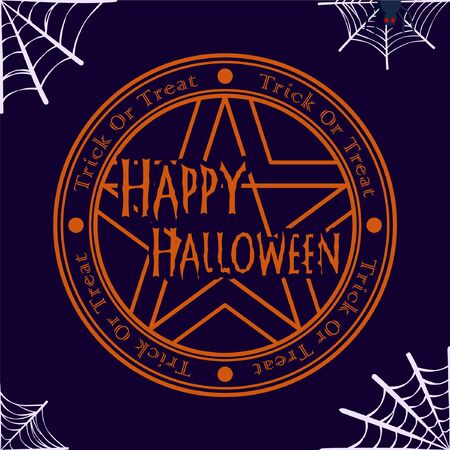 pentagram and spider web vector illustration for halloween banner also can use for media social feed or story