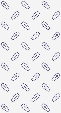line coffin vector pattern illustration for halloween banner also can use for media social feed or story background Çizim