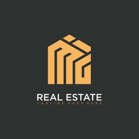 letter MIG with House element. Construction logo template, Home and Real Estate icon