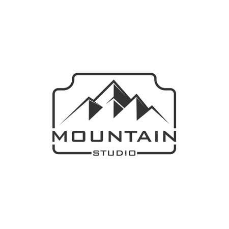 Logo photo camera and mountain, for Adventure Outdoor Nature Photography Photographer Logo Design