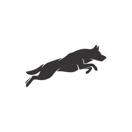 Silhouette vector of a black and white jumping dog