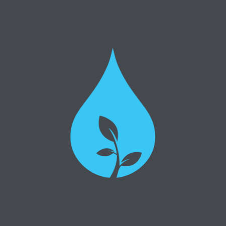 Water drop and leaf logo design vector template