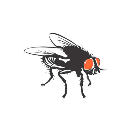 Illustration of flies icon with glowing eyes