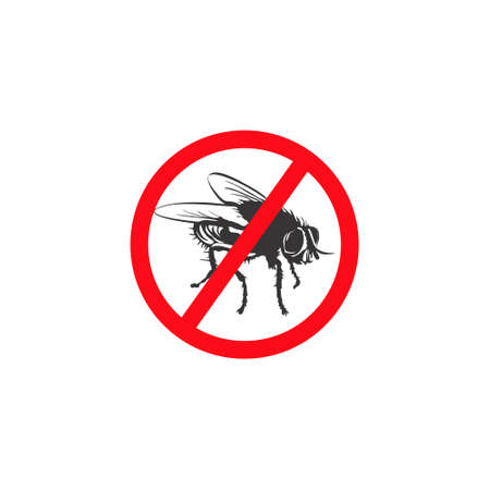 Warning sign stop the flies. Prohibition sign insect pest