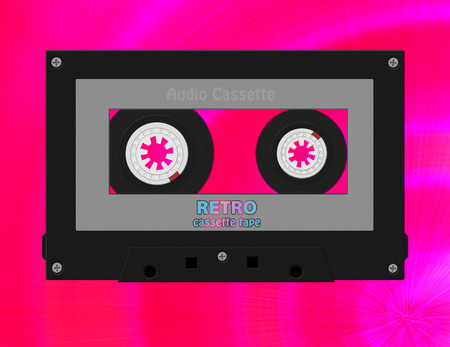 Audio black gray retro cassette tape on futuristic pink background. Фото со стока