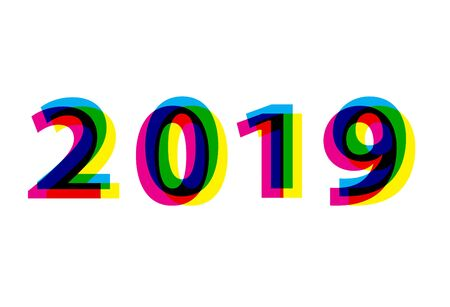 2019 year number vector eps 10. Colorful CMYK 2019 font effect concept.
