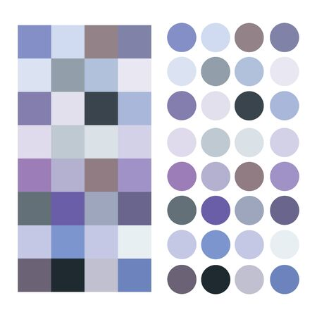 Fashion cold blue lilac gray palettes trend isolated set 2019.Color harmony solution for home, design room, bedroom, interior, fashion color ideas design. Cold blue tones for shadows contrast.