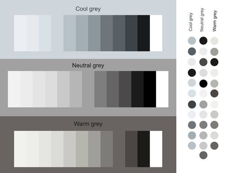 Gray color tones trend 2019 set. Cool, neural, warm gray set smooth gradient from light to dark. Unique color palettes for designers and architects. Design of interior, fashion harmony solutions.