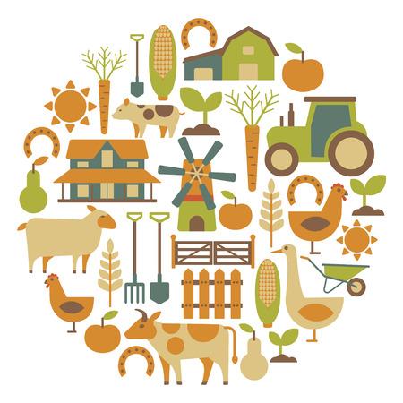 animales de granja: tarjeta redonda con artículos agrícolas relacionados