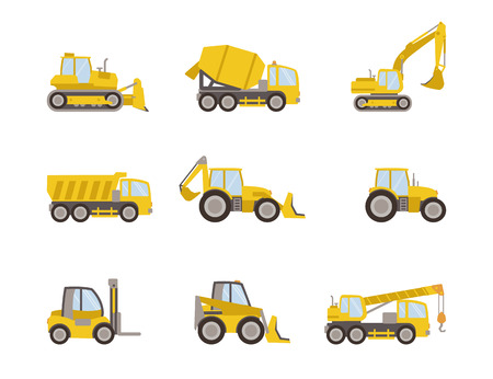 set of heavy equipment icons 向量圖像
