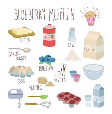 blueberry muffin recipe Vector