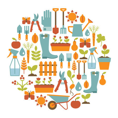 round card with gardening design elements Vector