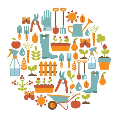 jardines flores: tarjeta redonda con elementos de dise�o de jardiner�a