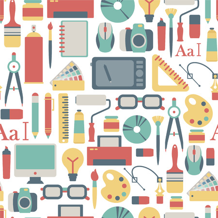 computer art: seamless pattern with graphic design icons Illustration