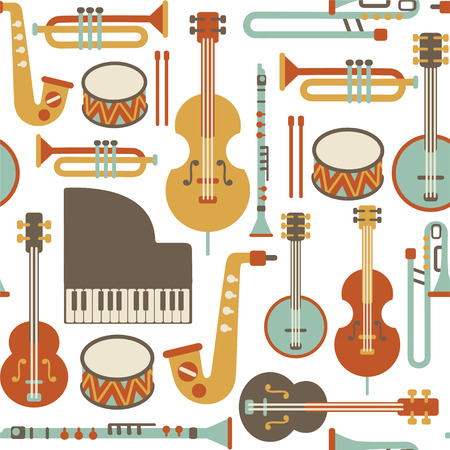 白で隔離されるジャズの楽器とのシームレスなパターン  イラスト・ベクター素材