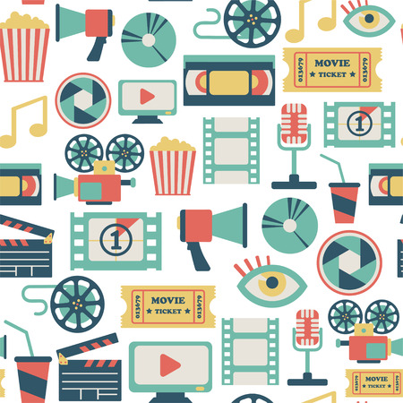 film set: seamless pattern with flat movie icons