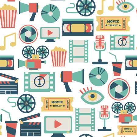 palomitas: sin patrón, con iconos de la película plana Vectores