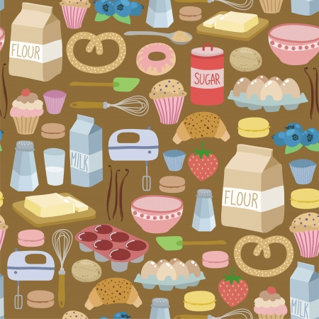 baking dish: seamless pattern with cooking ingredients