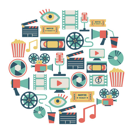 movie theater: round card with flat movie design elements Illustration