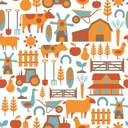 animales de granja: patrón transparente con elementos agrícolas relacionados