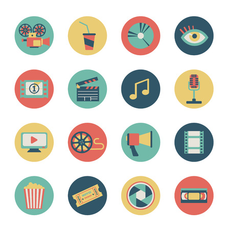 set of flat movie icons