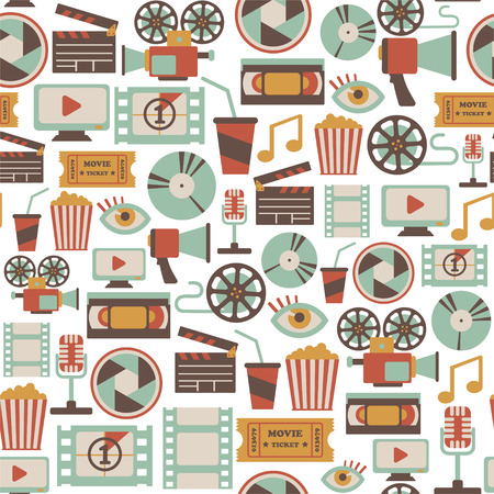 seamless pattern with retro cinema icons Vector