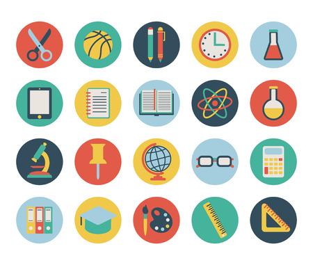 set van platte scholen pictogrammen op wit wordt geïsoleerd Stock Illustratie