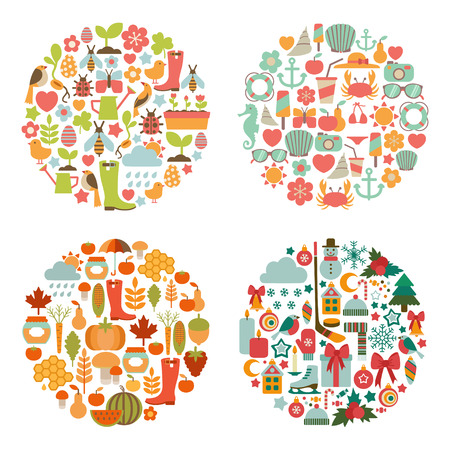set of seasonal round cards Vector