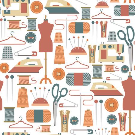 シームレス パターンと縫製のアイコン  イラスト・ベクター素材