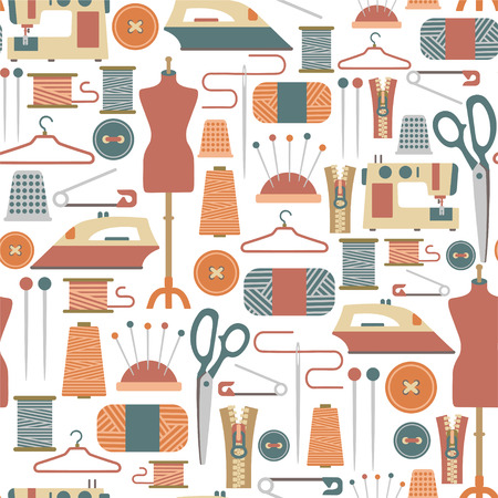 textile industry: seamless pattern with sewing icons