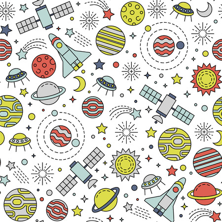 Seamless pattern with colorful cosmos design elements
